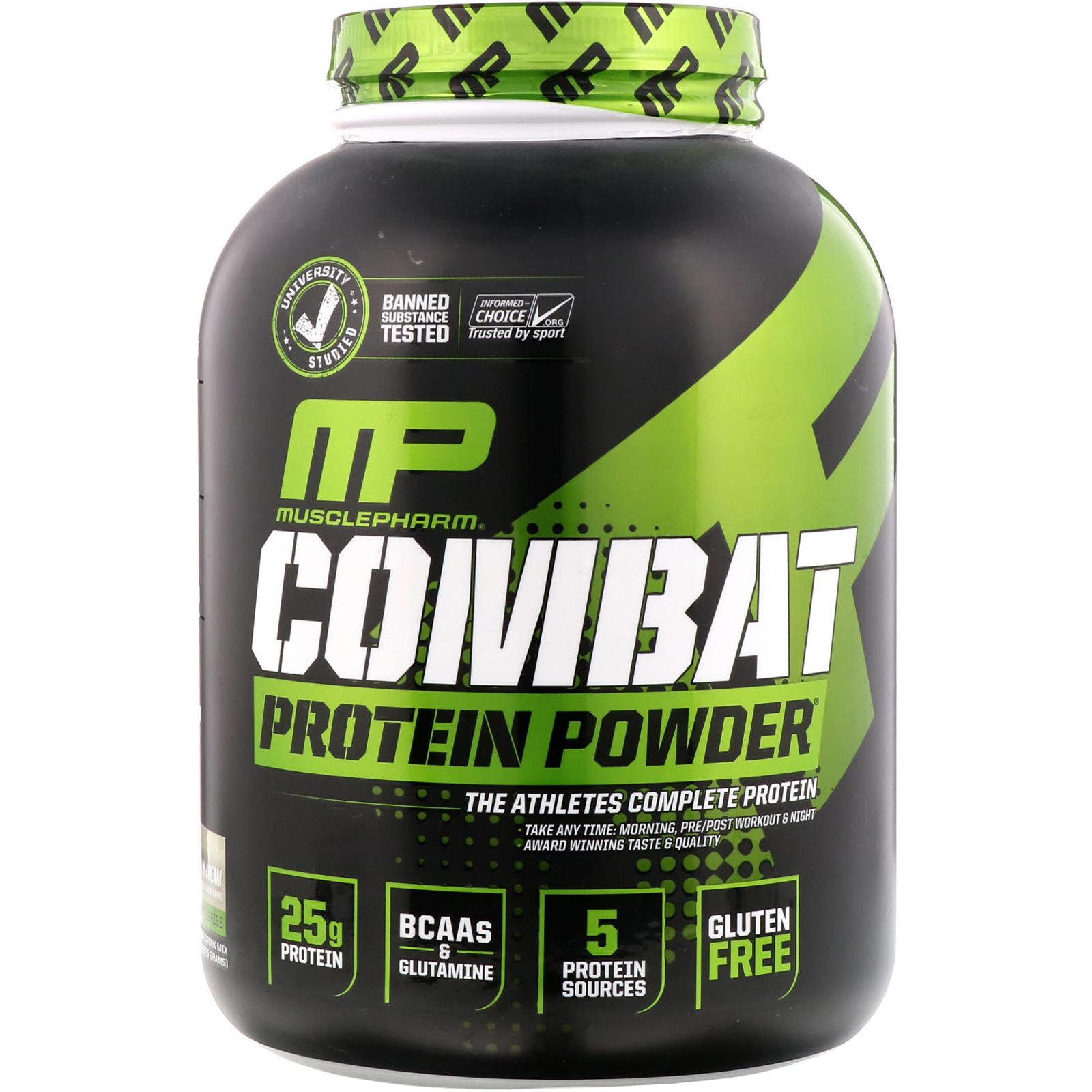 f0e6143bd MusclePharm, مسحوق بروتين كومبات، بسكويت وكريمة، 5 رطل (2275 غرام ...