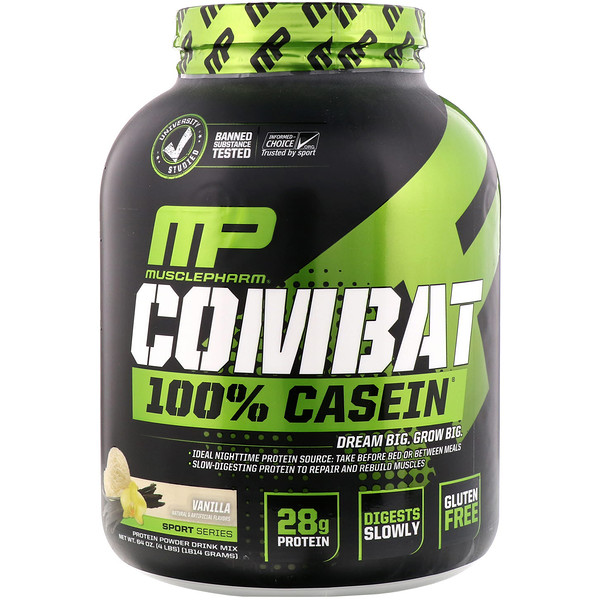 MusclePharm, Combat 100% Casein, Vanilla, 4 lbs (1814 g) (Discontinued Item)