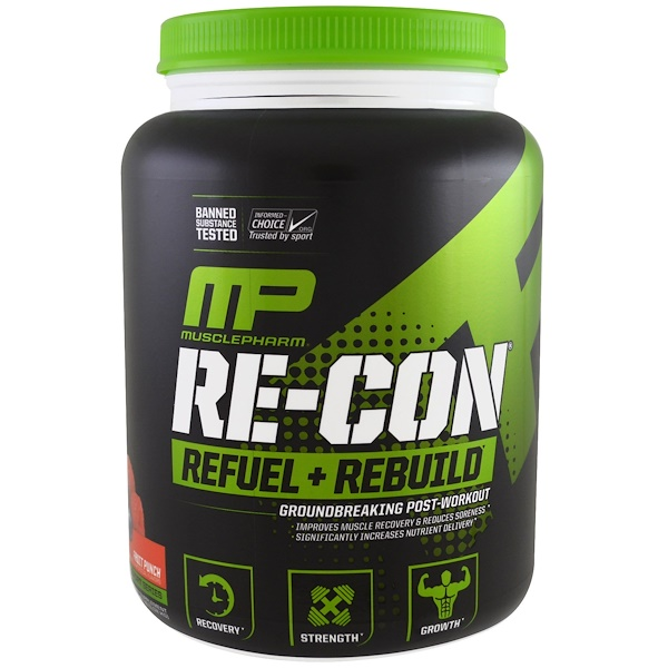 MusclePharm, Пополнение запаса энергии и восстановление Re-Con, фруктовый пунш, 35,98 унц. (1,02 кг) (Discontinued Item)