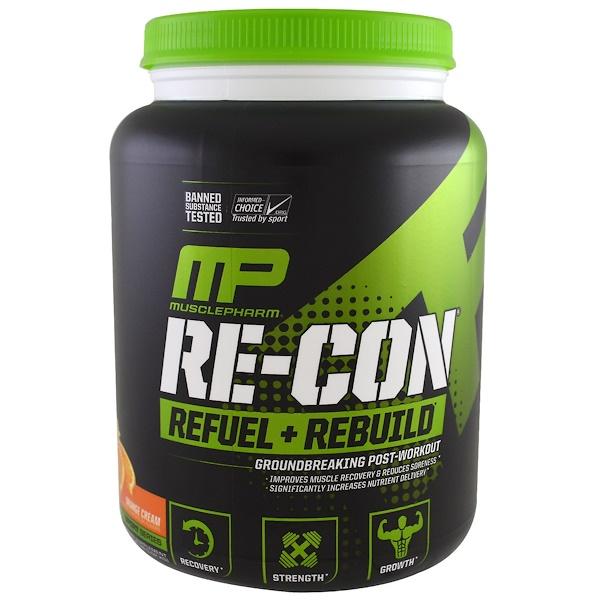 MusclePharm, Пополнение запаса энергии + восстановление Re-Con, апельсиновый крем, 35,98 унц. (1,02 кг) (Discontinued Item)