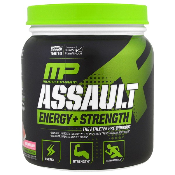 MusclePharm, Assault Energy + Strength, Pré-Treino, Melancia, 345 g (12,17 oz)