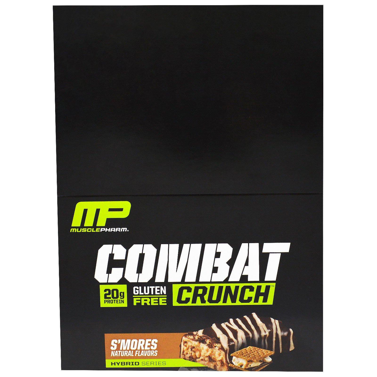 """MusclePharm, """"Битва"""", хрустящие белковые батончики со вкусом смора, 12 батончиков по 2,22 унции (63 г)"""