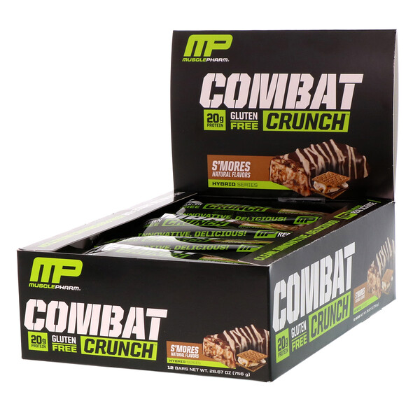 MusclePharm, Combat Crunch, S'mores, 12 barres, 2,22 oz (63 g) chacune (Discontinued Item)