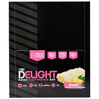 FitMiss, Fit Miss Delight, Baked Protein Bar, Lemon, 12 Bars, 21.2 oz (600 g)