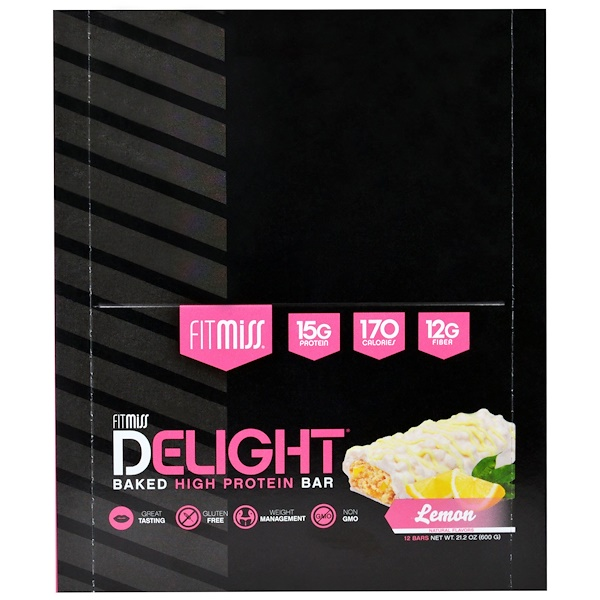 FitMiss, Fit Miss Delight, Baked Protein Bar, Lemon, 12 Bars, 21.2 oz (600 g) (Discontinued Item)