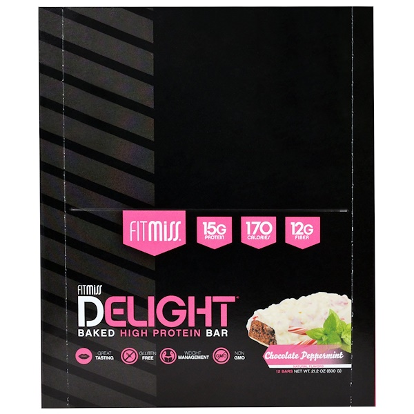 FitMiss, FitMiss, Delight Baked High Protein Bar, Chocolate Peppermint, 12 Bars, 1.76 oz (50 g) Each (Discontinued Item)