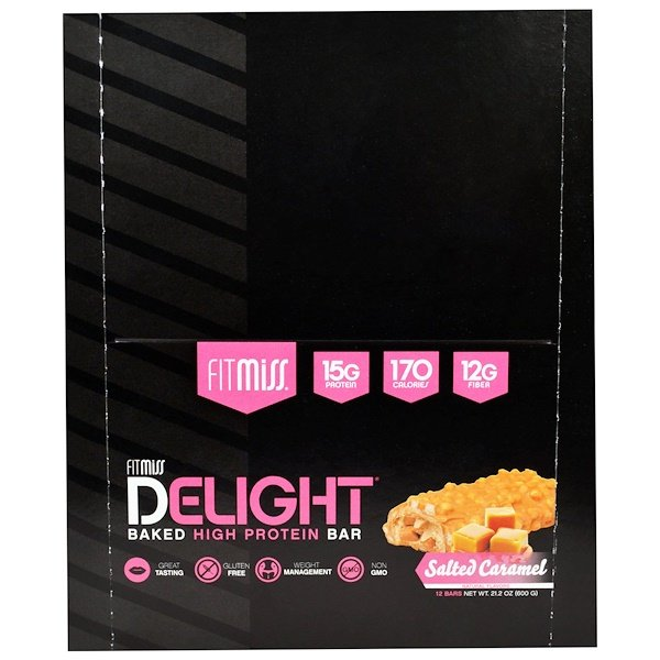 FitMiss, Fit Miss Delight, Baked High Protein Bar, Salted Caramel, 12 Bars, 21.2 oz (600 g) (Discontinued Item)