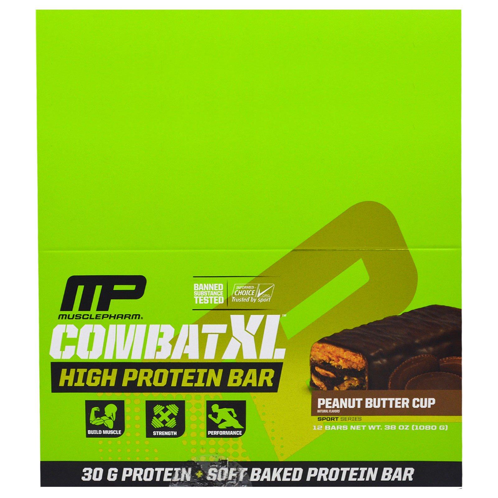 MusclePharm, Combat XL Батончик с Высоким Содержанием Белка, Арахисовое Масло, 12 батончиков, 38 унций (1080 г)
