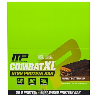 MusclePharm, Combat XL High Protein Bar, Peanut Butter Cup, 12 Bars, 38 oz (1080 g)