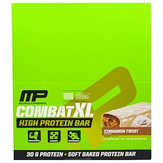 MusclePharm, Combat XL High Protein Bar, Cinnamon Twist , 12 Bars, 38 oz (1080 g)