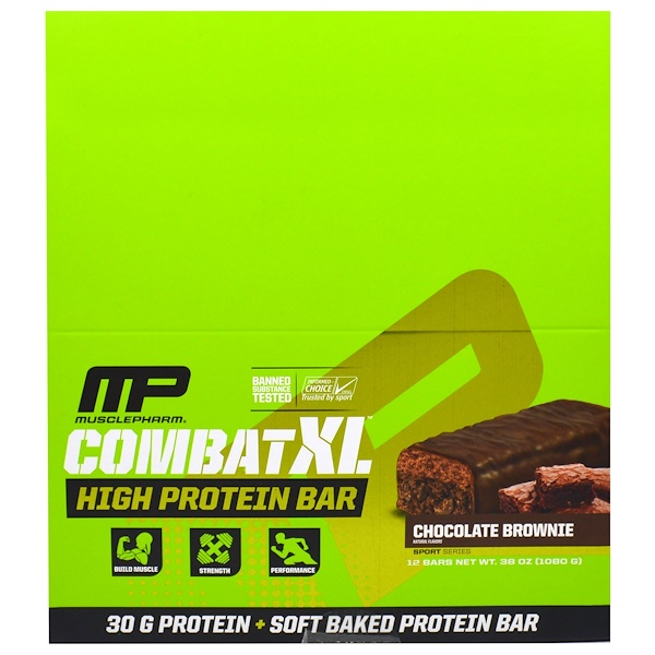 MusclePharm, Combat XL, High Protein Bar, Chocolate Brownie , 12 Bars, 38 oz (1080 g) (Discontinued Item)
