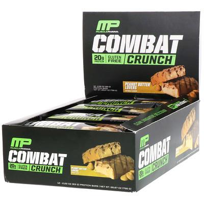 Купить MusclePharm Combat Crunch, с арахисовым маслом, 12 батончиков, по 2, 22 унции (63 г) каждый