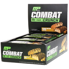 MusclePharm, Combat Crunch, Peanut Butter Lovers, 12 Bars, 2.22 oz (63 g) Each