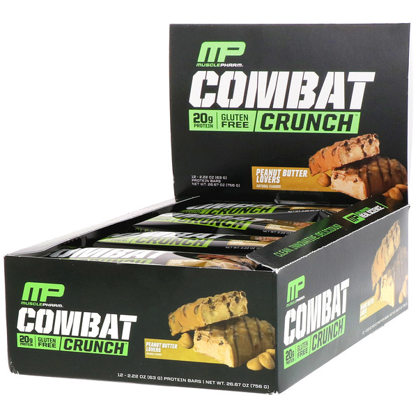 Combat Crunch, Peanut Butter Lovers, 12 Bars, 2.22 oz (63 g) Each