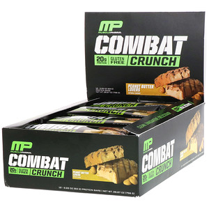 Мусклефарм, Combat Crunch, Peanut Butter Lovers, 12 Bars, 2.22 oz (63 g) Each отзывы покупателей