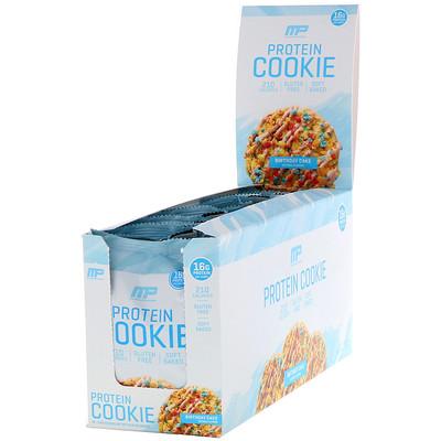 MusclePharm Протеиновое печенье, вкус «Именинный пирог», 12шт., 52г каждое  - Купить