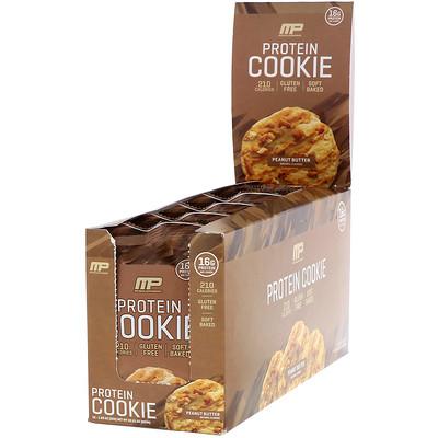 Купить MusclePharm Протеиновое печенье, вкус «Арахисовая паста», 12шт., 52г (1, 83унции) каждое
