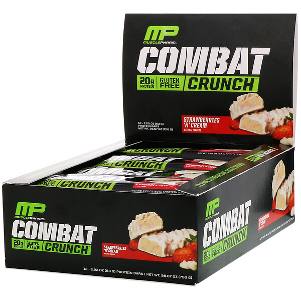 MusclePharm, Combat Crunch, Strawberries 'N' Cream, 12 Bars, 2.22 oz (63 g) Each (Discontinued Item)