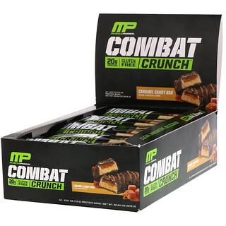 MusclePharm, Combat Crunch, Caramel Candy Bar, 12 Bars, 2.57 oz (73 g) Each