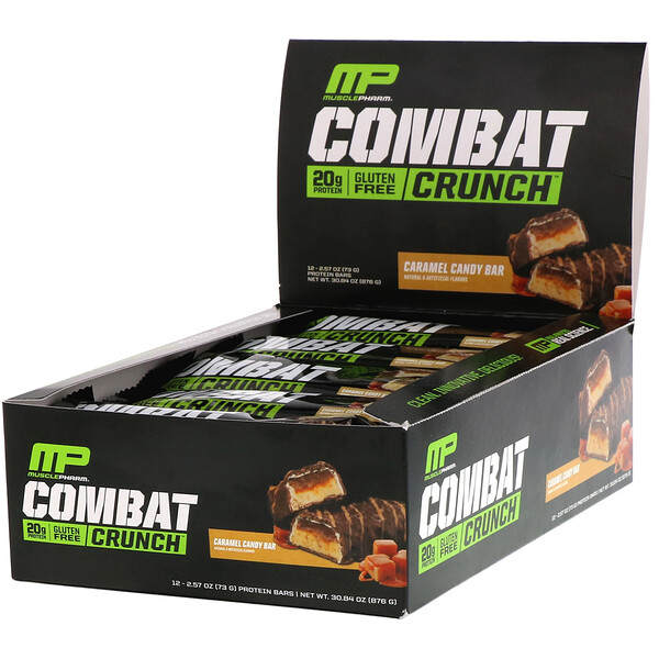 MusclePharm, Combat Crunch, Caramel Candy Bar, 12 Bars, 2.57 oz (73 g)