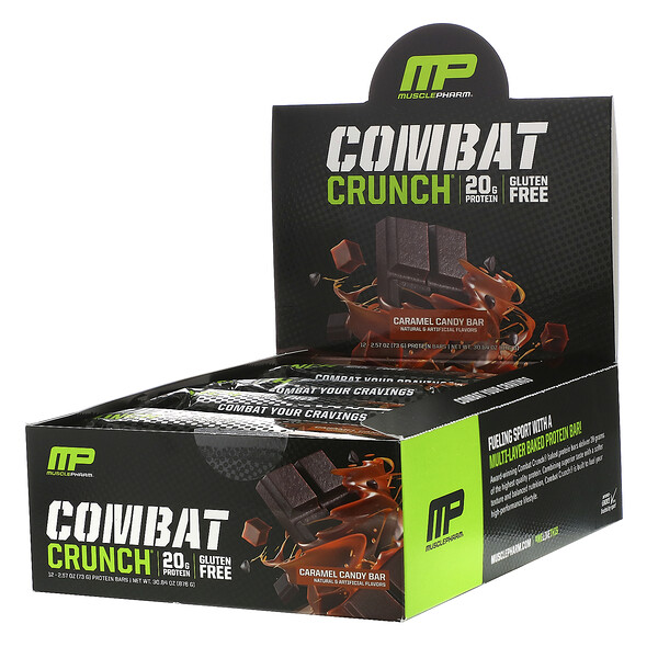 MusclePharm, Combat Crunch, Caramel Candy Bar, 12 Bars, 2.57 oz (73 g) Each
