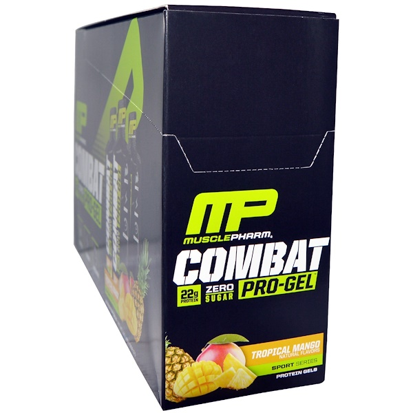 MusclePharm, Combat Pro Gel, Tropical Mango, 12 Protein Gels, 1.62 oz (46 g) Each (Discontinued Item)