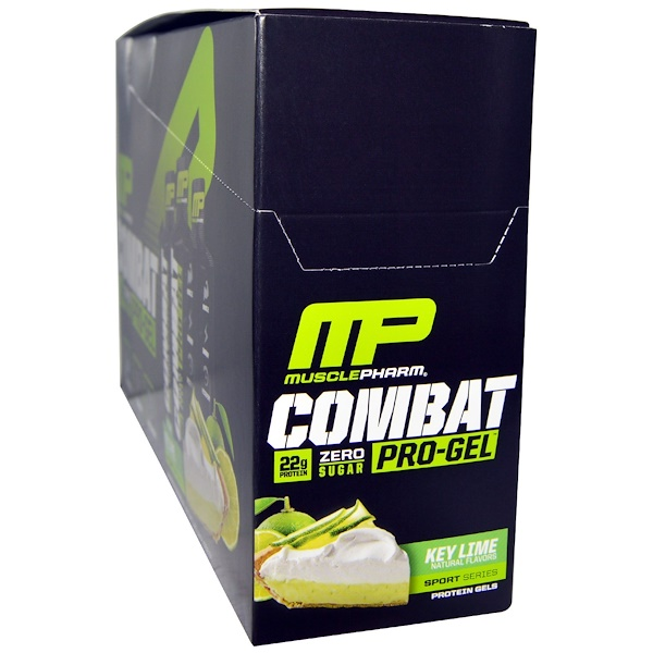 MusclePharm, Combat, Pro-Gel, Key Lime, 12 Protein Gels, 1.62 oz (46 g) Each (Discontinued Item)