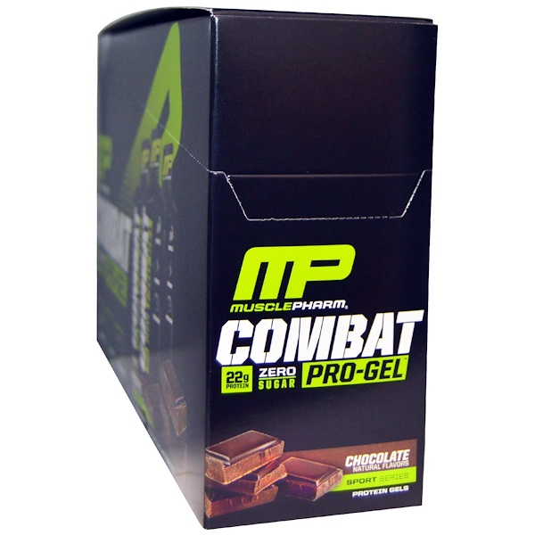 MusclePharm, Combat Pro-Gel, Chocolate, 12 Protein Gels, 1.62 oz (46 g) Each (Discontinued Item)