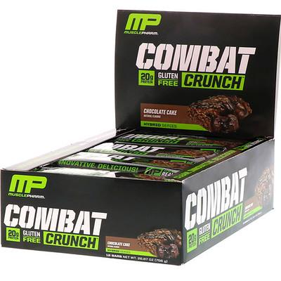 MusclePharm Гибридные серии, Combat Crunch, Шоколадный торт, 12 баров, 2,22 унции (63 г) Каждый
