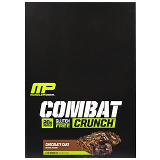 MusclePharm, ハイブリッドシリーズ、コンバットクランチ、チョコレートケーキ、12本、各2.22 oz (63 g)