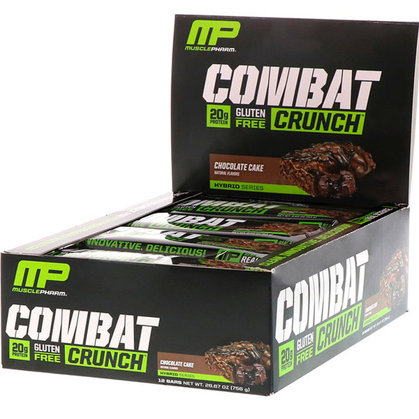 MusclePharm, Combat Crunch, Chocolate Cake, 12 Bars, 2.22 oz (63 g) Each