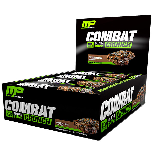 MusclePharm, 混合系列,Combat Crunch,巧克力蛋糕,12條,每條2、22盎司(63克)