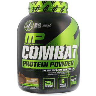 MusclePharm, Combat Protein Powder, Chocolate Peanut Butter, 4 lbs (1814 g)
