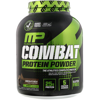 MusclePharm, Sport Series, Combat Protein Powder, Chocolate Milk, 4 lbs (1814 g)