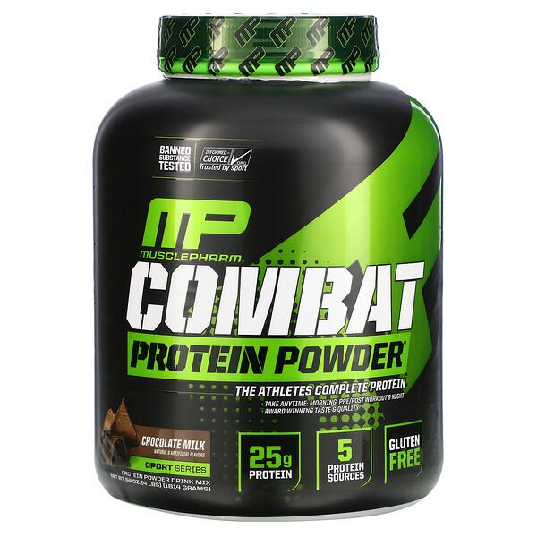 MusclePharm, المسابقات الرياضية، مسحوق بروتين القتال، الحليب والشوكولاته، 4 باوند (1814 غم)
