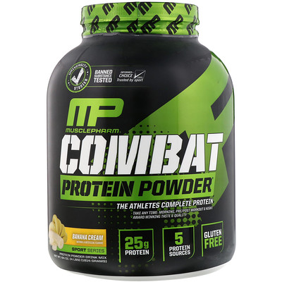 Combat Powder, Advanced Time Release Protein, Banana Cream, 4 lbs (1814 g)