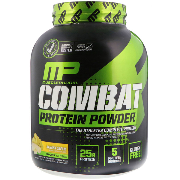 MusclePharm, Combat Powder, Advanced Time Release Protein, Banana Cream, 4 lbs (1814 g)