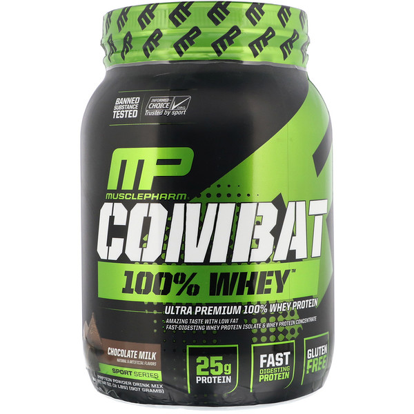 MusclePharm, Combat 100% Whey Protein, Chocolate Milk, 2 lbs (907 g)