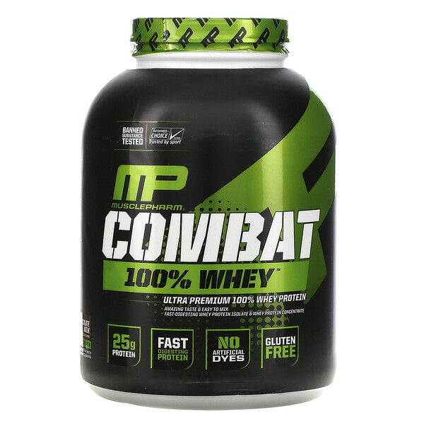 MusclePharm, Combat 100% Whey Protein, Chocolate Milk, 5 lbs (2269 g)