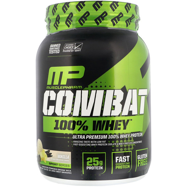 MusclePharm, Combat 100% Whey Protein, Vanilla, 2 lbs (907 g)