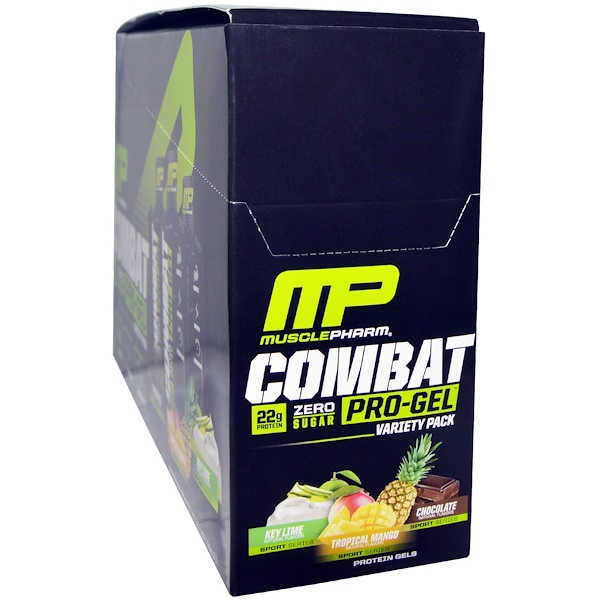 MusclePharm, Combat Pro Gel, Variety Pack, 12 Gels, 1.62 oz (46 g) Each (Discontinued Item)