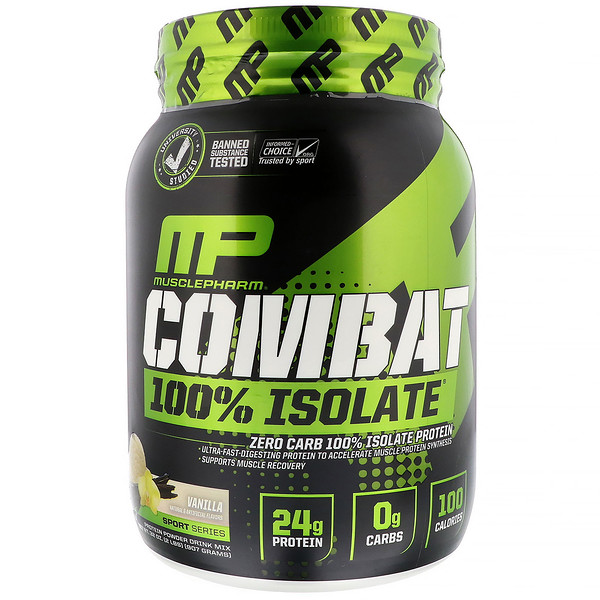 MusclePharm, Combat 100% Isolate Protein, Vanilla, 2 lbs (907 g) (Discontinued Item)