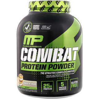 MusclePharm, Combat Protein Powder, Cookies 'N' Cream, 4 lbs (1814 g)