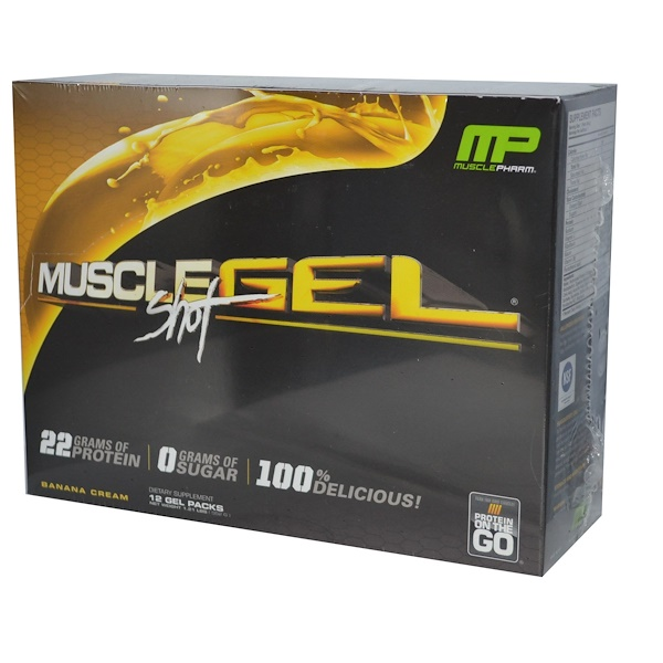 MusclePharm, Muscle Gel Shot, Protein on the Go, Banana Cream, 12 Gel Packs, 46 g Each  (Discontinued Item)
