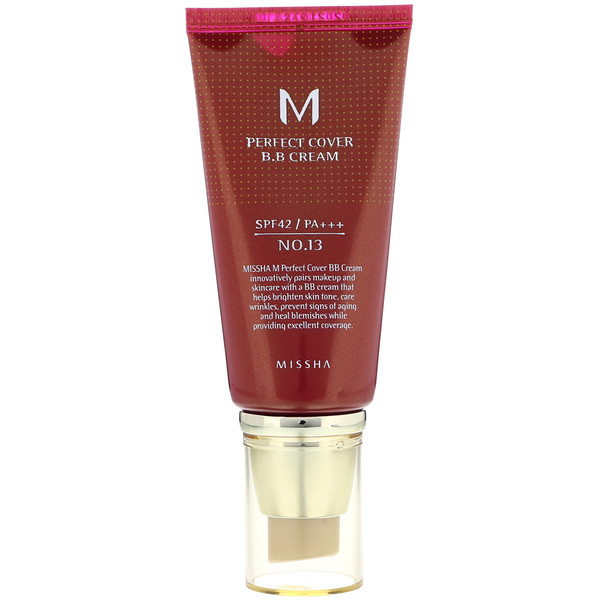 Missha, Perfect Cover B.B Cream, SPF 42 PA+++, No. 13 Bright Beige, 50 ml