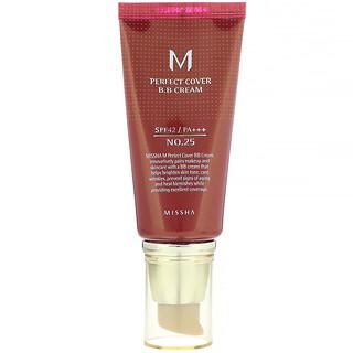 Missha, M Perfect Cover B.B Cream, SPF 42 PA+++, No. 25 Warm Beige, 1.7 oz (50 ml)