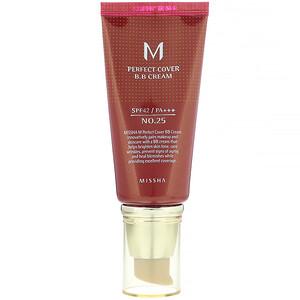 Миша, M Perfect Cover B.B Cream, SPF 42 PA+++, No. 25 Warm Beige, 1.7 oz (50 ml) отзывы покупателей