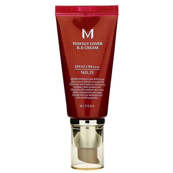 Missha, Perfect Cover BB Cream, SPF 42 PA+++, No. 21 Light Beige, 50 ml (Discontinued Item)