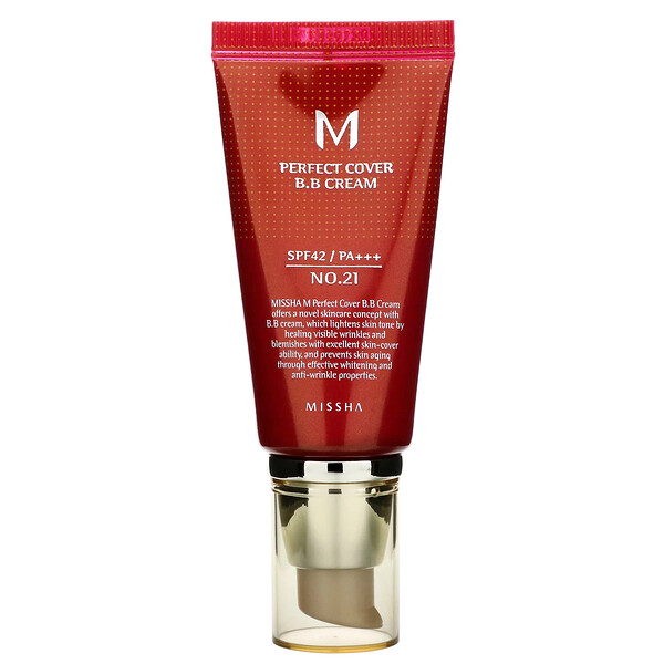 Missha, Perfect Cover BB Cream, SPF 42 PA+++, No. 21 Light Beige, 50 ml