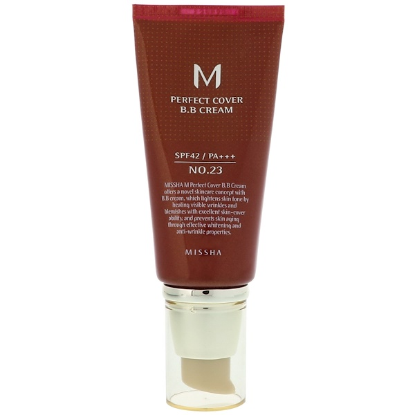 Missha, M Perfect Cover BB Crema, No. 23 Beige Natural, 50 ml (Discontinued Item)